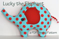 """You will love making this cute and easy elephant pillow for all the little sweeties in your life. Lucky is a 12 page PDF pattern that comes to your email right away after your purchase!  The pattern includes lots of pictures and detailed instructions. A good project for beginners but also a fast and gratifying project for a more advanced sewer.The elephant measures 10"""" tall and 15"""" wide. Materials needed are about a 1/2 yard of mixed cotton fabrics, fusible interfacing..."""