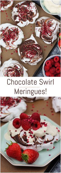 Individual Chocolate Swirl Meringues, perfect for an Easy Dessert!