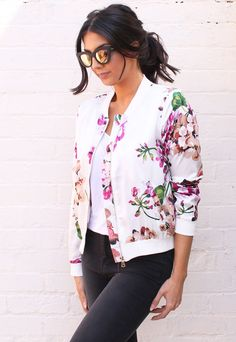 Lightweight Oriental Floral Print Satin Bomber Jacket in Cream & Pink - One Nation Clothing - One Nation Clothing - 1