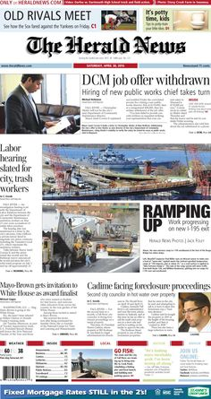 The front page of The Herald News for Saturday, April 30, 2016.