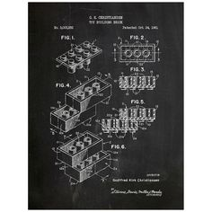 LEGO Bricks Toy Patent Print - 3 Colors | Lego, Building and Art posters