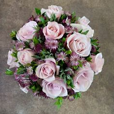A gorgeous seasonal bouquet in delicate pink shades. Discover more gorgeous flowers and wedding bouquet inspiration on the McQueens blog: http://blog.mcqueens.co.uk/category/bridal/