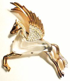 Vintage Coro sterling  and rhinestone pegasus pin, Corocraft