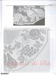 gentile richiesta...il centro rotondo all'uncinetto frutta Lucia, schemi Crochet filet doilies with fruit motifs, free charts