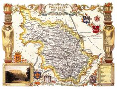Yorkshire West Riding Antique English County by OldEnglishPrints