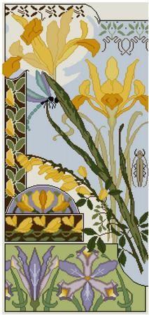 Iris and Laburnum Cross stitch pattern PDF Floral pattern dragonfly pattern