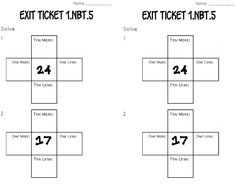 """1st grade NBT 5 ten more and ten less Math tasks, exit tickets, I can statements Perfect way to create deep, independent thinkers. Exit tickets are a great way for students to """"show what they know""""!"""