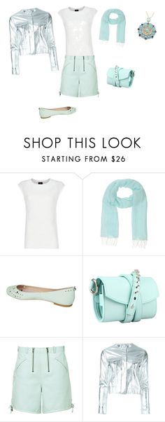 """""""FW - DN - LEATHER SHORTS, SEQUIN TOP, SCARF, SILVER JACKET, FLATS - AQUA"""" by laliquemurano on Polyvore featuring MANGO, Stefanel, Sam Edelman, Loes Vrij, Reiss, Marques'Almeida, Tiffany & Co., women's clothing, women's fashion and women"""