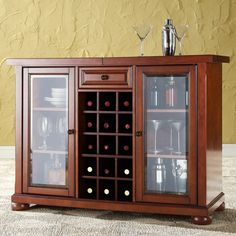 Crosley Alexandria Sliding Top Bar Cabinet in Classic Cherry - KF40002ACH
