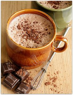The kids will love this homemade, creamy hot chocolate recipe using unsweetened cocoa, white sugar, and milk. Hot Cocoa Recipe, Cocoa Recipes, Yummy Drinks, Yummy Food, Chocolate Cafe, Chocolate Heaven, Junk Food, Food Food, Fall Recipes