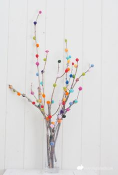 Pom-Pom Branches - easy ideas for entertaining! Great for fall or match colors to the party theme.
