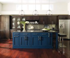 Love The Island In A Diffe Color Than Cabinets Dark Blue Kitchen