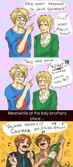 "You look so silly with your ""moo-staaash""! :p #Hetalia #Italy #humor"