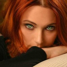 lovely girl with #redhead and #green eyes