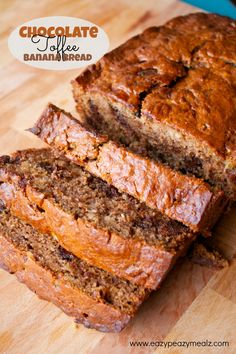 This banana bread is easy to make, nice and chocolatey, and has some toffee bits mixed in for even more amazing flavor. Chocolate Toffee Banana Bread