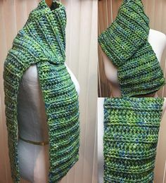 Green and Blue Scarf, Crochet Scarf, Green Scarf, Open End Scarf, Chunky Scarf, Green Crochet Scarf, Crocheted Scarf, Winter Scarf by CozyNCuteCrochet on Etsy