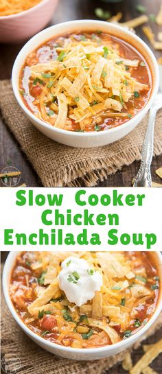 This slow cooker chicken enchilada soup is packed full of flavor, with hardly any work, for a meal that the whole family loves. Slow Cooker Recipes, Crockpot Recipes, Soup Recipes, Dinner Recipes, Cooking Recipes, Dinner Ideas, Chicken Enchilada Soup, Chicken Enchiladas, Slow Cooker Chicken