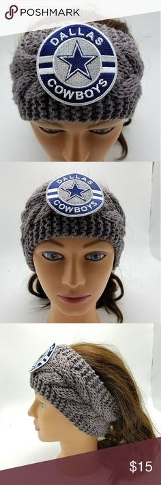 """Dallas Cowboys Headband NFL Cowboys Earmuff Texas You will receive exactly what is pictured.   Handmade item from Issaquah, WA, USA.   Item is 100% acrylic, exclusive of flowers and ribbon. Approximate height is 4"""" tall. Material is stretchy and one size fits most women.   Product Care Instructions: Hand wash in cold water. Lay flat to dry, do not wring. Recommended to just spot clean as needed.  This item includes small parts/pieces, keep out of the reach of children.   Headband is for…"""
