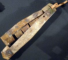 """Engraved folding comb carved out of bone. From the exhibition """"Vikings! The Untold Story"""" at the National Museum of Scotland"""