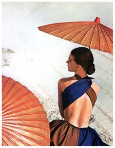 Virginia Stewart  is wearing a sundress by Joset Walker  in the California desert near Yuma,  used for cover of Harper's Bazaar, May 1948  Photo Louise Dhal-Wolfe  Harper's Bazaar Cover