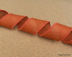 """Wired Burlap Ribbon Orange Natural Jute 2"""" wide from Cottage Crafts Online"""