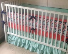 Navy Mint and Coral Designer Ikat Ruffled Crib Bedding Set  on Etsy, $380.00