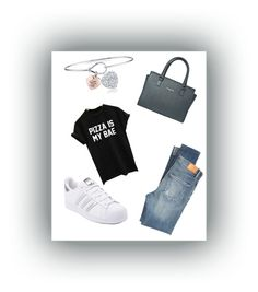 """Pizza is my bæ🍕"" by fashionableoutfit on Polyvore featuring mode, Citizens of Humanity, WithChic, Lancaster, adidas en Unwritten"