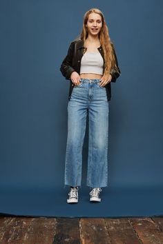 TALL Awkward Crop Wide Leg Jeans - Topshop USA