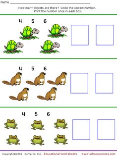 Count and Write Numbers, Set 3 - 9 free worksheets