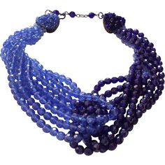 COPPOLA TOPPO 1960 blue faceted half crystal necklace