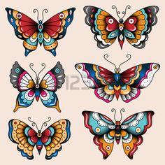 tatuering: Uppsättning av gamla skolan tatuering konst fjärilar för design och inredning