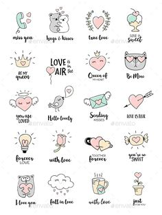 valentines day love quotes editable vector set with love doodles eps 10 all the design elements c ? Love Doodles, Little Doodles, Easy Doodles, Mini Drawings, Love Drawings, Doodle Drawings, Valentines Day Doodles, Valentines Day Love Quotes, Valentine Nails