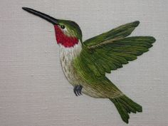 When embroidered in silk - thread painting is also known as silk shading. This exquisite hummingbird was designed and embroidered by Kelley Aldridge when she was a student at the Royal School of Needlework. You can see more of Kelley's work on her Faceboo Embroidery Designs, Crewel Embroidery Kits, Silk Ribbon Embroidery, Embroidery Thread, Machine Embroidery, Bordado Jacobean, Embroidered Bird, Thread Painting, Brazilian Embroidery