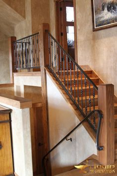 Staircase Railing Design, Iron Staircase, Wrought Iron Porch Railings, Rustic Home Design, Attic Renovation, Log Homes, Metal Working, House Design, 36