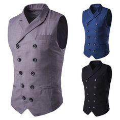 New Men Fitted Vest Waistcoat Double Breasted Vest Black Grey Slim Suit Vest #Unbranded