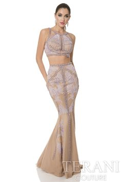 Nude two piece couture dress with linear bead work. Delicate tulle design accents finish this special occasion gown.