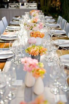 Pink + Orange tablescape with grey runner