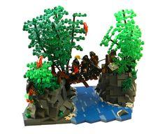 LEGO Jungle River crossing scene by Corioso