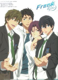 Makoto , Sousuke , Rin and Haru . Are they offering buttons ? Anime Boys, Hot Anime Guys, I Love Anime, Otaku, Rei Ryugazaki, Futaba Y Kou, Rin Matsuoka, Makoto Tachibana, Swimming Anime
