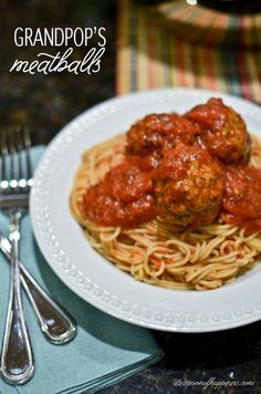 Grandpop's Meatballs. I usually hate meatballs, but these look so good. I would substitute the beef for ground turkey though.