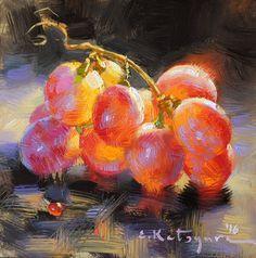 Crimson Seedless Grapes by Elena Katsyura Oil ~ 6 in x 6 in