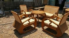 """Set of chairs and table namely """"meja kursi sedan"""". Made of teak and rattan. Recycled furnitures from Java. A little touch of repairs and finishing will make them so valuable home decoration for interior furnitures."""