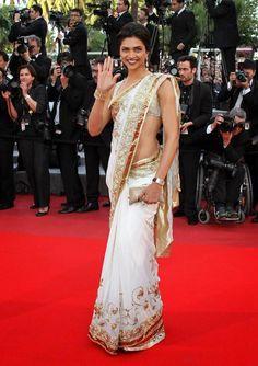 Deepika Padukone Chiffon White Gold Saree