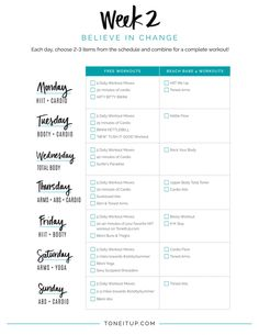 Tone It Up Weekly Workout Schedule! 7 Workout, Tuesday Workout, Workout Ideas, Pregnancy Workout, Workout Fitness, Weekly Workout Schedule, Week Schedule, Workout Calendar, Workout Plan For Beginners