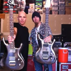 Joe Satriani and I with his Chrome Boy Ibanez guitars at Sammy Hagar/Chickenfoot's rehearsal/recording studio