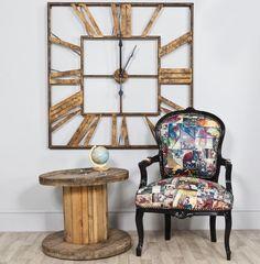 Large Square Gold Metal Skeleton Wall Clock - Herbert