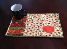 Mug Rug Pumpkin Placemat by MestizaArt on Etsy only $12!!!