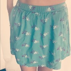 Cooperative mini circle skirt Summer favorite! Cooperative skirt, in minty green with beautiful purple detail design. Runs on the shorter side, however very comfortable and soft material. May also fit a size small. Urban Outfitters Skirts Circle & Skater