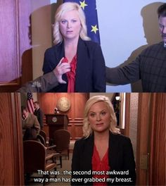 """Parks and Recreation Season Three Episode Camping. """"That was the second most awkward way a man has ever grabbed my breast. Parks And Recreation Show, Parks And Rec Memes, Parks And Recs, Cold Open, Parks Department, Leslie Knope, Great Tv Shows, Favorite Tv Shows, Favorite Things"""