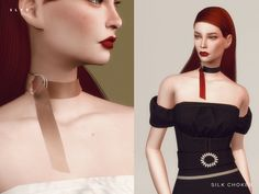 Silk Choker by SLYD at TSR • Sims 4 Updates